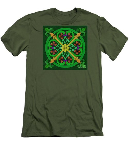 Acorns On Forest Green Men's T-Shirt (Slim Fit) by Curtis Koontz