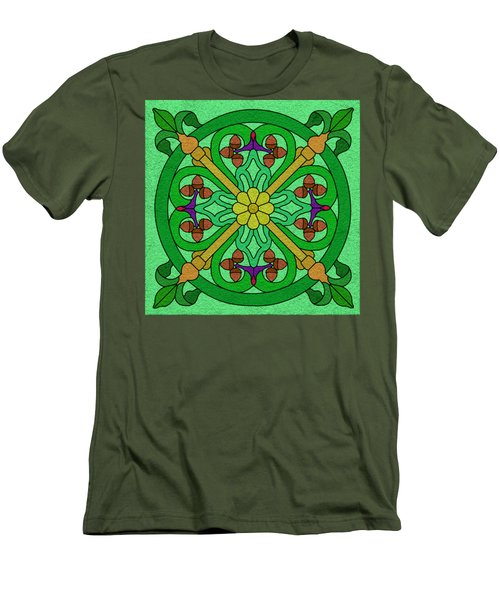 Acorns On Light Green Men's T-Shirt (Athletic Fit)