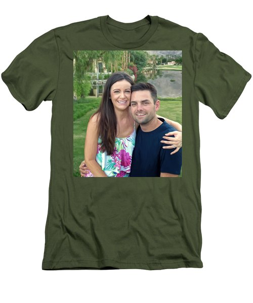 Men's T-Shirt (Slim Fit) featuring the painting Adam And Lys by Michael Pickett
