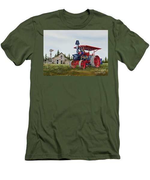 Men's T-Shirt (Slim Fit) featuring the painting Advance Rumely Steam Traction Engine by James Williamson