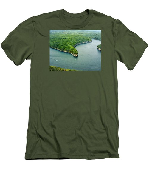 Aerial Image Of  Long Point Cliff Men's T-Shirt (Slim Fit) by Mark Allen
