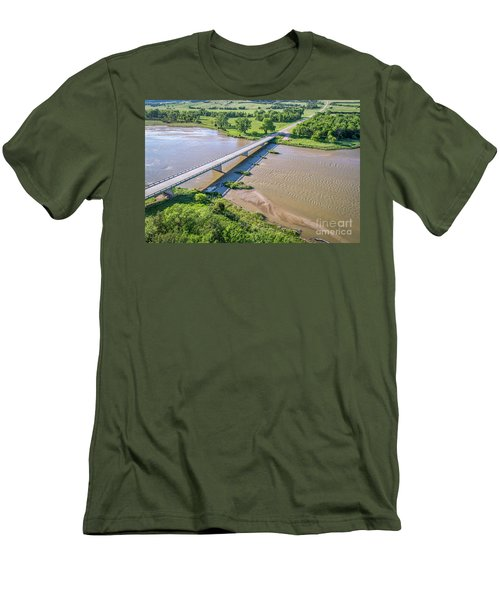 aerial view of Niobrara River in Nebraska Sand Hills Men's T-Shirt (Athletic Fit)