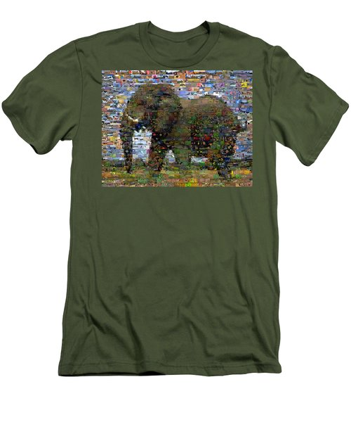 Men's T-Shirt (Slim Fit) featuring the mixed media African Elephant Wild Animal Mosaic by Paul Van Scott