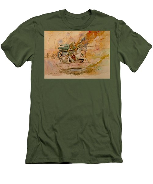 Men's T-Shirt (Slim Fit) featuring the painting After The Charge by Ray Agius