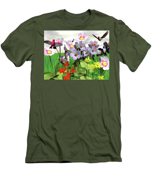 After The Rain Comes The Rainbow Men's T-Shirt (Slim Fit) by Michele Wilson