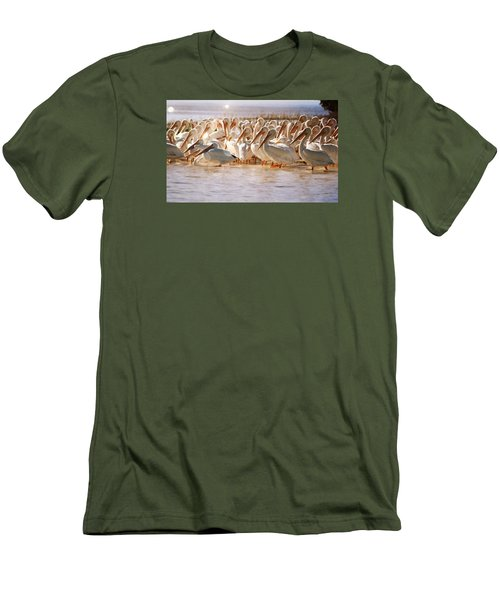 Aglow White Pelicans Men's T-Shirt (Athletic Fit)