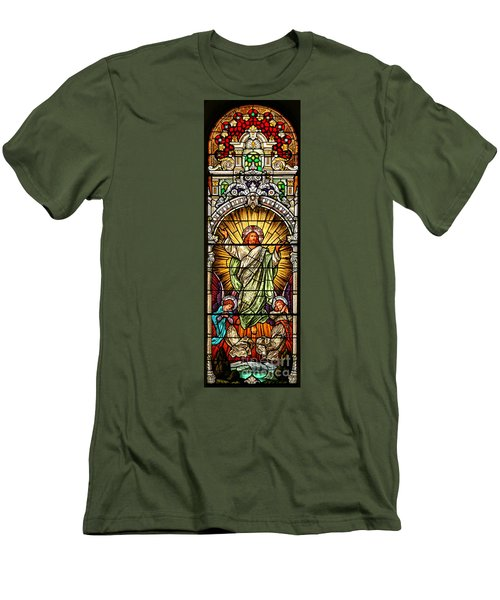 Men's T-Shirt (Slim Fit) featuring the photograph Stained Glass Scene 10 Crop by Adam Jewell