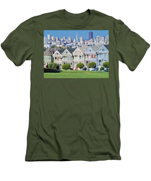 Men's T-Shirt (Slim Fit) featuring the photograph Alamo Square by Matthew Bamberg