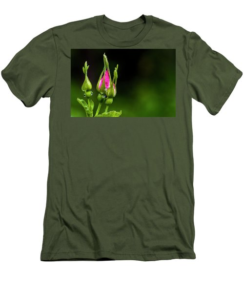 Men's T-Shirt (Slim Fit) featuring the photograph Alberta Rose Buds by Darcy Michaelchuk
