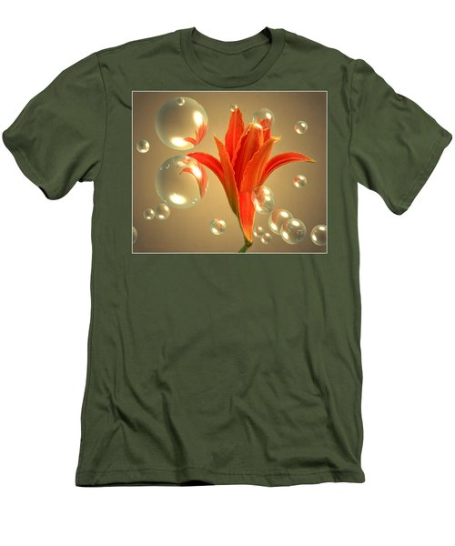 Men's T-Shirt (Slim Fit) featuring the photograph Almost A Blossom In Bubbles by Joyce Dickens