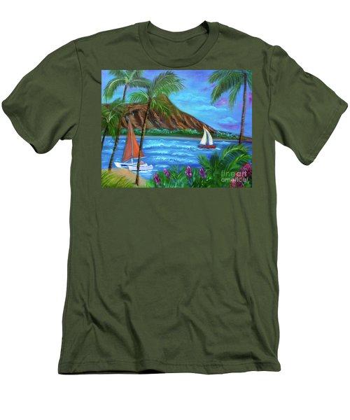 Aloha Diamond Head Men's T-Shirt (Slim Fit) by Jenny Lee