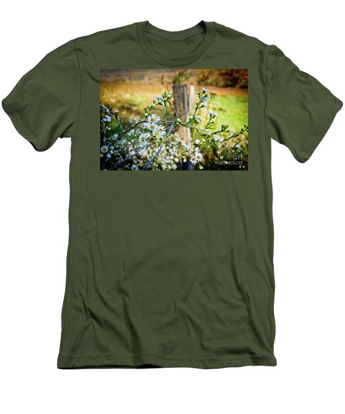 Men's T-Shirt (Slim Fit) featuring the photograph Along A Fence Row by Douglas Stucky