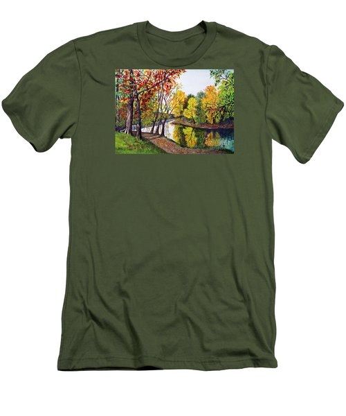 Along The Blanchard Men's T-Shirt (Slim Fit) by Nancy Cupp