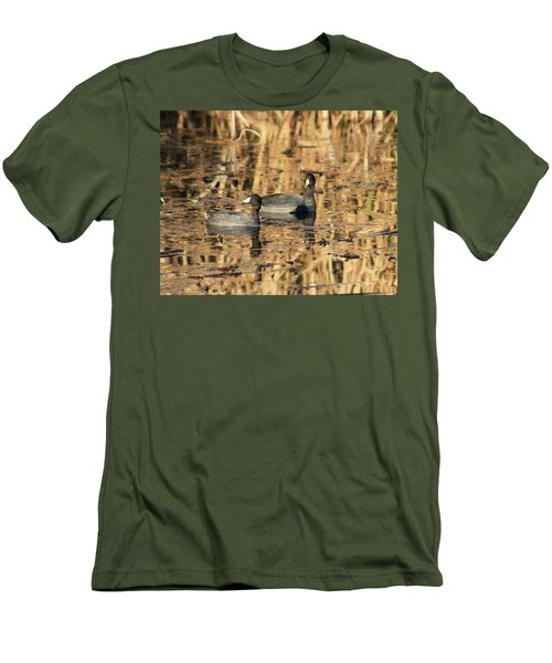 Men's T-Shirt (Slim Fit) featuring the photograph American Coots by Jerry Battle