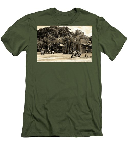 Men's T-Shirt (Athletic Fit) featuring the photograph American Roadhouse Sepia by Laura Fasulo