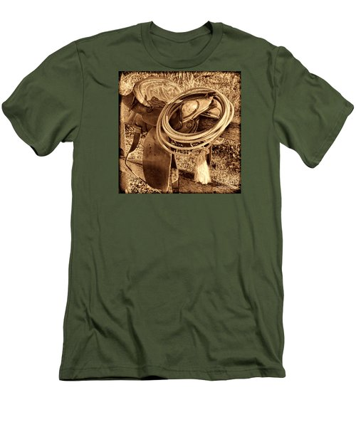 American West Legend Rodeo Western Lasso On Saddle Men's T-Shirt (Slim Fit) by American West Legend By Olivier Le Queinec