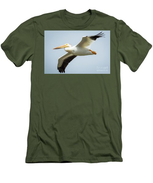 Men's T-Shirt (Athletic Fit) featuring the photograph  American White Pelican Flyby  by Ricky L Jones
