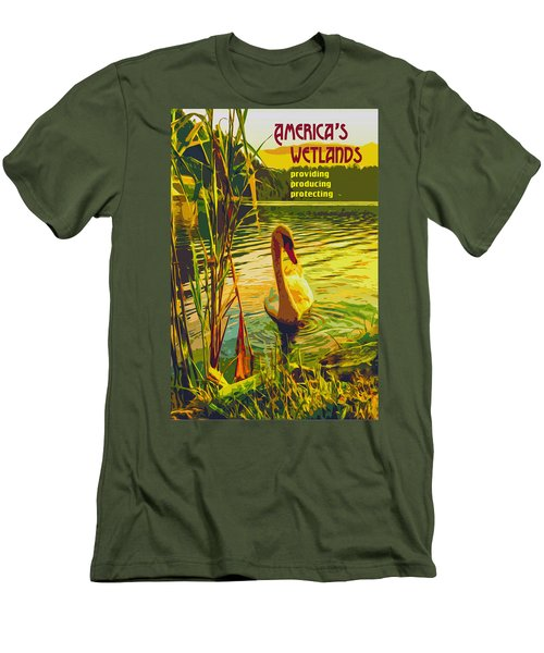 Men's T-Shirt (Slim Fit) featuring the digital art America's Wetlands by Chuck Mountain