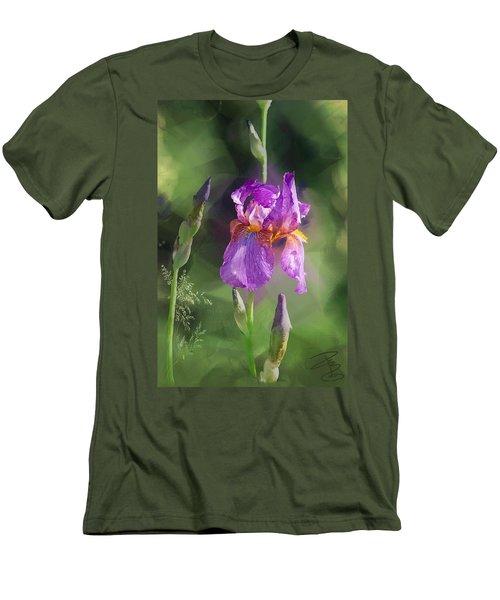 Amethyst Iris 2 Men's T-Shirt (Slim Fit) by Debra Baldwin