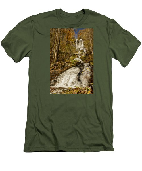 Men's T-Shirt (Slim Fit) featuring the photograph Amicola Falls Gushing by Barbara Bowen
