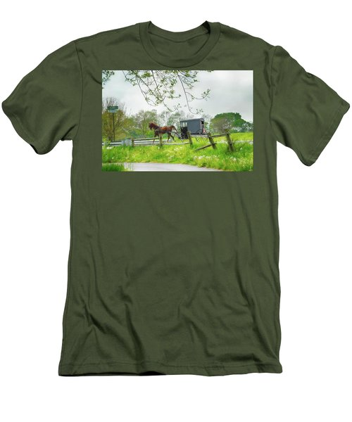 Amish Buggy Along Ronks Road Men's T-Shirt (Athletic Fit)