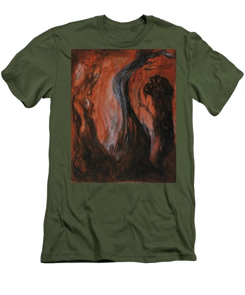 Men's T-Shirt (Slim Fit) featuring the painting Amongst The Shades by Christophe Ennis