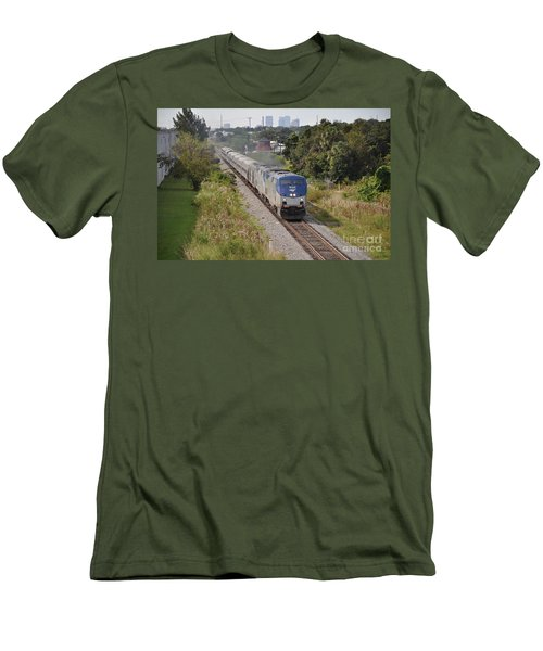 Men's T-Shirt (Slim Fit) featuring the photograph Amtrak Silver Star by John Black