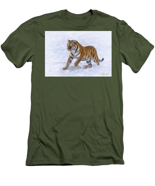 Men's T-Shirt (Athletic Fit) featuring the photograph Amur Tiger Running In Snow by Rikk Flohr
