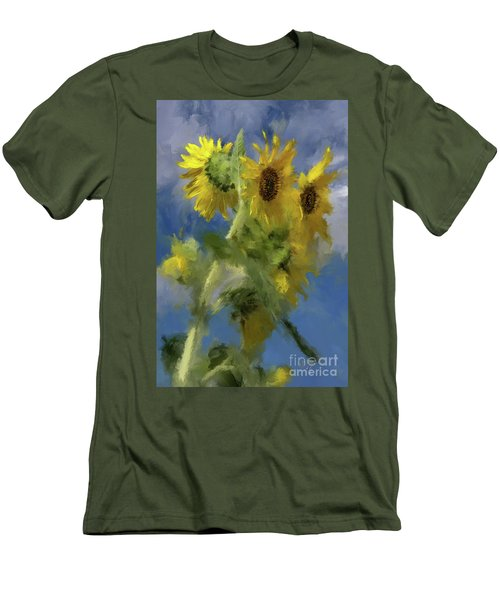 Men's T-Shirt (Slim Fit) featuring the photograph An Impression Of Sunflowers In The Sun by Lois Bryan