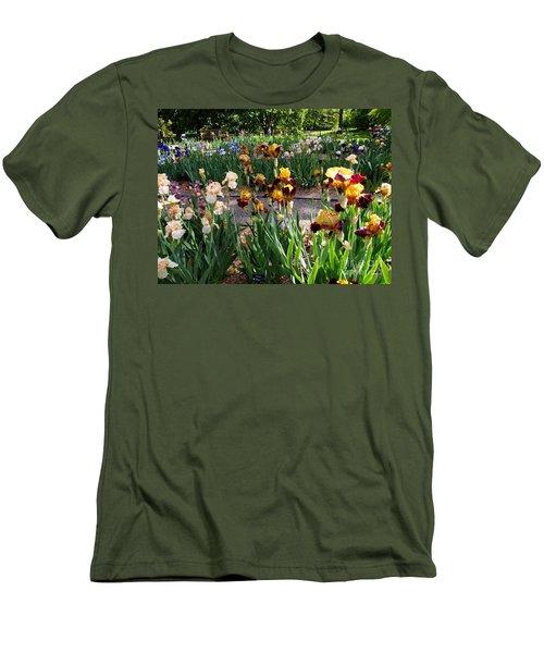 Men's T-Shirt (Slim Fit) featuring the photograph An Iris Party by Nancy Kane Chapman
