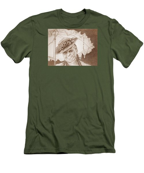 An Old Fashioned Girl In Sepia Men's T-Shirt (Slim Fit) by Antonia Citrino