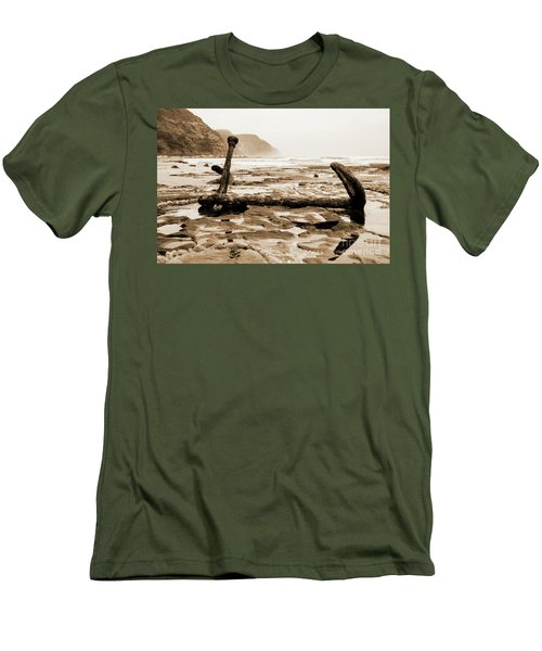 Men's T-Shirt (Athletic Fit) featuring the photograph Anchor At Rest Sepia Tones by Angela DeFrias