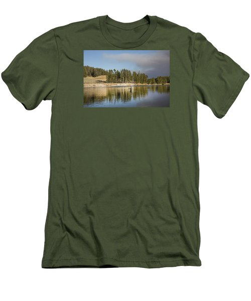 Angler Amidst Gorgeous Surroundings And A Calm River In The Yellowstone In Wyoming Men's T-Shirt (Athletic Fit)