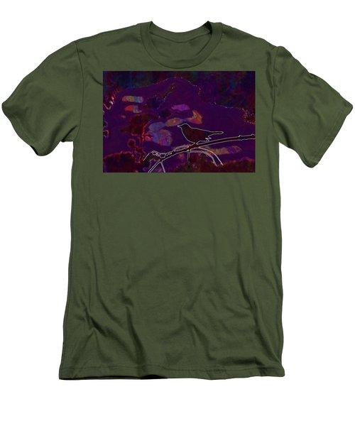 Men's T-Shirt (Athletic Fit) featuring the digital art Animal Bird Dark Nature Silhouette  by PixBreak Art