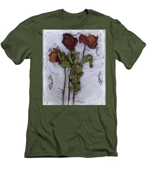Men's T-Shirt (Slim Fit) featuring the digital art Anniversary Roses by Alexis Rotella