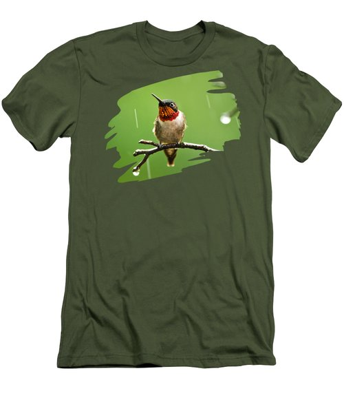 Another Rainy Day Hummingbird Men's T-Shirt (Slim Fit) by Christina Rollo