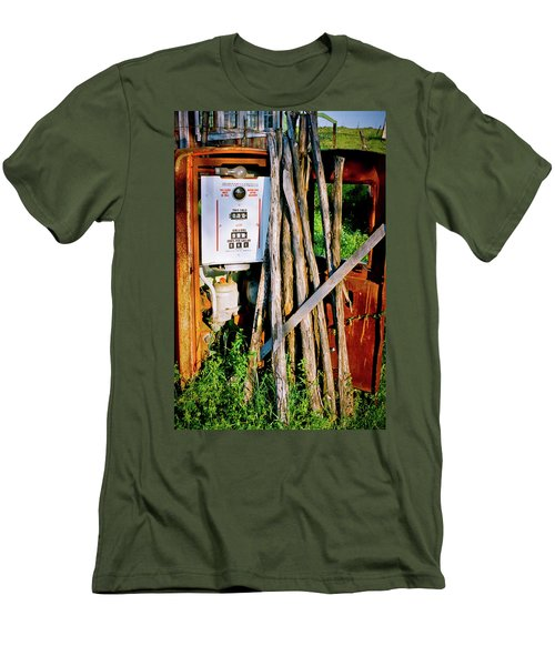 Men's T-Shirt (Slim Fit) featuring the photograph Antique Gas Pump by Linda Unger