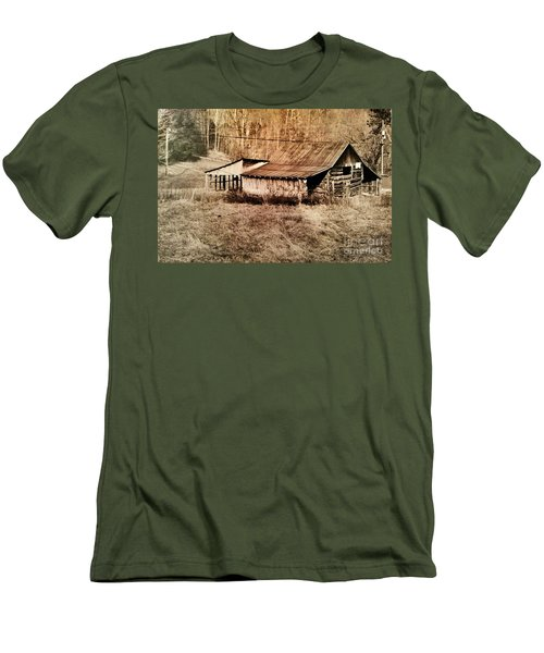 Antique Log Beam Barn Southern Indiana Men's T-Shirt (Athletic Fit)