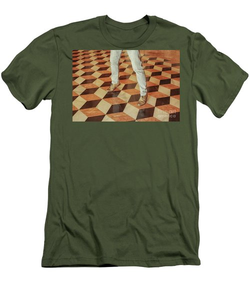 Men's T-Shirt (Slim Fit) featuring the photograph Antique Optical Illusion Floor Tiles by Patricia Hofmeester