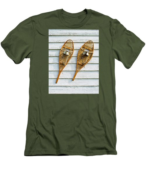 Men's T-Shirt (Slim Fit) featuring the photograph Antique Snowshoes On The Wall by Gary Slawsky
