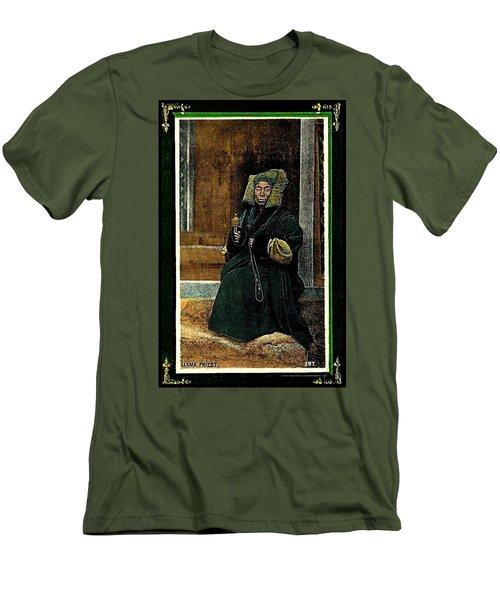 Antique Tibetan Lama Men's T-Shirt (Slim Fit) by Peter Gumaer Ogden