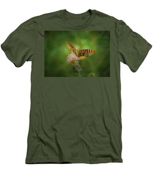 Men's T-Shirt (Slim Fit) featuring the photograph Aphrodite Fritillary Butterfly by Sandy Keeton