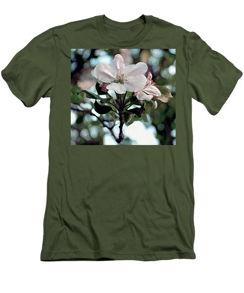Men's T-Shirt (Slim Fit) featuring the painting Apple Blossom Time by RC deWinter