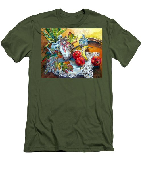 Apple Cat Men's T-Shirt (Slim Fit)