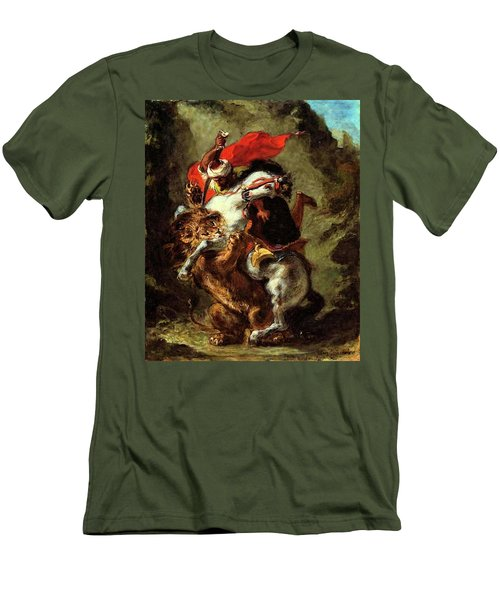Men's T-Shirt (Slim Fit) featuring the painting Arab Horseman Attacked By A Lion by Eugene Delacroix
