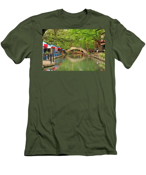 Men's T-Shirt (Slim Fit) featuring the photograph Arched Bridge Reflection - San Antonio by Art Block Collections