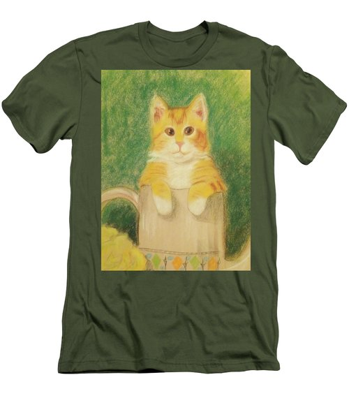 Men's T-Shirt (Slim Fit) featuring the drawing Are You Sure It's Ok To Be In Here? by Denise Fulmer