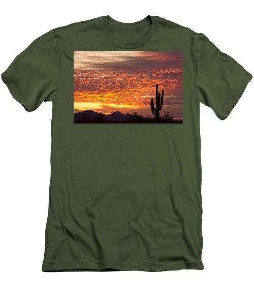 Arizona November Sunrise With Saguaro   Men's T-Shirt (Slim Fit) by James BO  Insogna