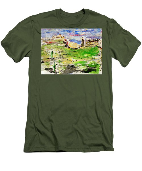 Men's T-Shirt (Slim Fit) featuring the painting Arizona Skies by J R Seymour