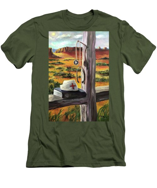 Men's T-Shirt (Slim Fit) featuring the painting Arizona The Nurse And Hope by Randol Burns